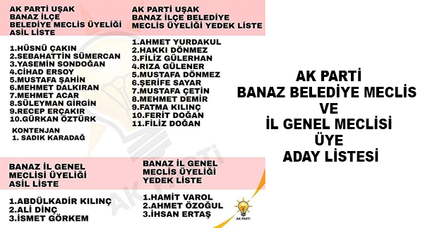Ak Parti Banaz Belediye Meclis  Ve İl Genel Meclisi Üye Aday Listesi