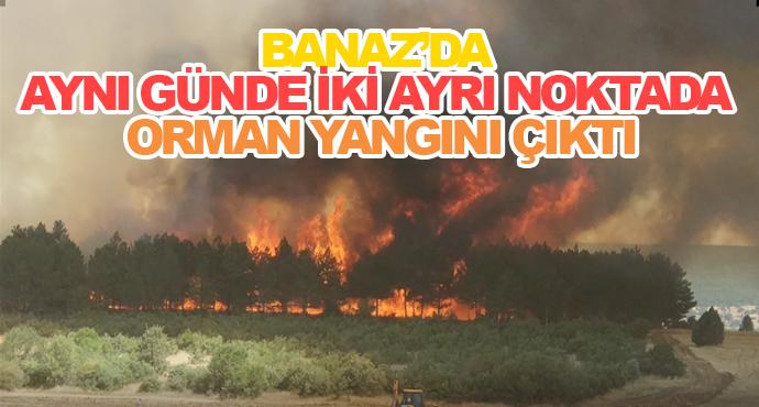 Banaz'da Aynı Günde İki Ayrı Noktada Orman Yangını Çıktı