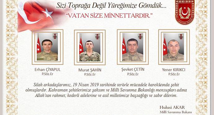 Hakkari / Çukurca Ve Yüksekova İlçeleri Arası Irak Sınırına Yakın Seriveri Bölgesinde Hain Pusuda 4 Şehidimiz Ve 7 Yaralımız Var.