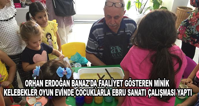 Orhan Erdoğan Banaz'da Faaliyet Gösteren Minik Kelebekler Oyun Evinde Cocuklarla Ebru Sanatı Çalışması Yaptı