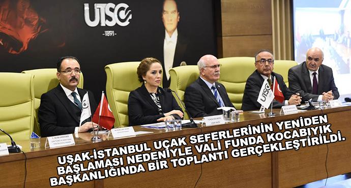 Uşak-İstanbul Uçak Seferlerinin Yeniden Başlaması Nedeniyle Vali Funda Kocabıyık Başkanlığında Bir Toplantı Gerçekleştirildi.