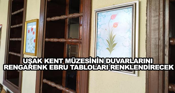 Uşak Kent Müzesinin Duvarlarını Rengarenk Ebru Tabloları Renklendirecek