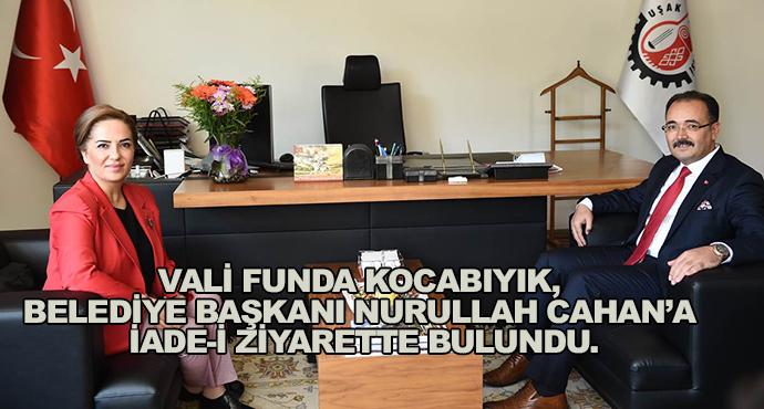 Vali Funda Kocabıyık, Belediye Başkanı Nurullah Cahan'a İade-İ Ziyarette Bulundu.