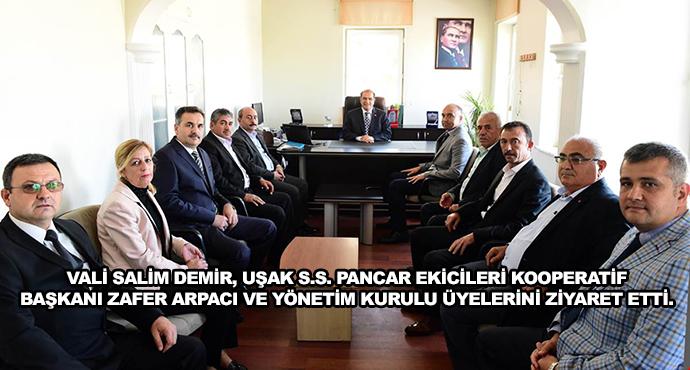 Vali Salim Demir, Uşak S.S. Pancar Ekicileri Kooperatif Başkanı Zafer Arpacı Ve Yönetim Kurulu Üyelerini Ziyaret Etti.