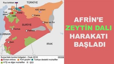 Afrin'e Zeytin Dalı Harakatı Başladı