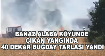 Banaz Alaba Köyünde Çıkan Yangında 40 Dekar Buğday Tarlası Yandı