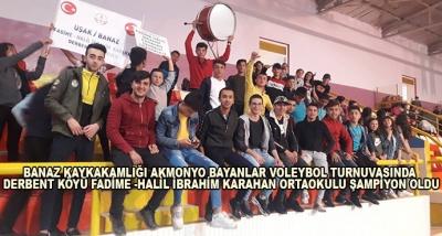 Banaz Kaykakamlığı Akmonyo Bayanlar Voleybol Turnuvasında Derbent Köyü Fadime -Halil İbrahim Karahan Ortaokulu Şampiyon Oldu
