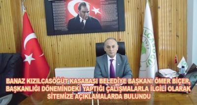 Banaz Kızılcasöğüt Kasabası Belediye Başkanı Ömer Biçer, Başkanlığı Dönemindeki Yaptığı Çalışmalarla İlgili Olarak Sitemize Açıklamalarda Bulundu