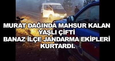 Murat Dağında Mahsur Kalan Yaşlı Çifti Banaz İlçe Jandarma Ekipleri Kurtardı.