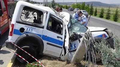Uşak'taki trafik kazasında 1 polis şehit oldu